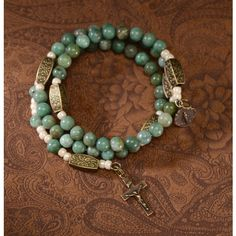 Jade Green & Brass Rosary Wrap