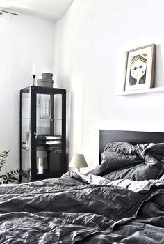 "Ikea ""Fabrikör"" display in bedroom in different shades of grey"