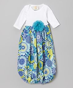 Take a look at this Blue & White Lagoon Layette Gown - Infant on zulily today!