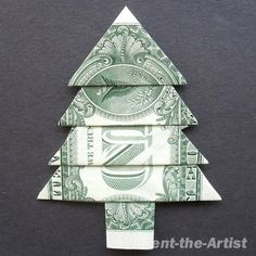 "DID IT! Made several and put in stocking for ""One Foot Out The Door.""  Dollar Bill Money Origami CHRISTMAS TREE"