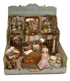 """Lot: Outstanding French Miniature """"Parfumerie Regence"""" Room with Elaborate Contents Vitrine Miniature, Miniature Rooms, German Toys, Old Dolls, Doll Head, Antique Toys, Toy Store, Doll Accessories, Vintage Dolls"""