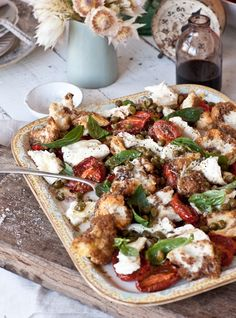 Panzanella with Roasted Tomatoes & Bell Peppers, Basil, Capers, Buffalo Mozarella & Balsamico