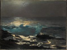 """""""Moonlight, Wood Island Light,"""" Winslow Homer, 1894, oil on canvas, 30 3/4 x 40 1/4"""", The Metropolitan Museum of Art.  The view is from Prouts Neck looking south across Saco Bay."""