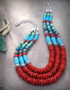 Necklace |  BlueSagePerarl.  Santa Fe Trail Rustic Southwestern Coral and Turquoise Oval Collar Necklace