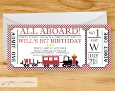 All Aboard- Train Ticket Party Invitation - Digital File or Printed by PaperclutchShop on Etsy https://www.etsy.com/listing/161755791/all-aboard-train-ticket-party-invitation
