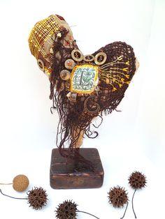 Heart I fiber art soft sculpture by Cesart64 on Etsy,