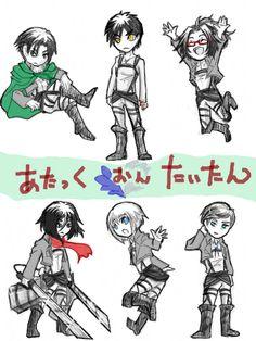 SnK AoT Hanji Erwin Levi Eren Armin Mikasa