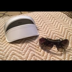 Christian Dior Sunglasses Hard to find frame, never used- literally been sitting in a drawer. Unique shimmery dark mushroom color. Comes with case, bag, and wipe. Dior Accessories Sunglasses