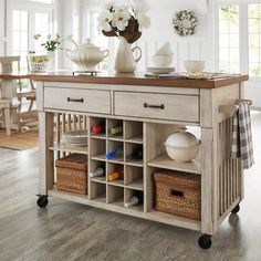 Eleanor Two-Tone Rolling Kitchen Island with Wine Rack