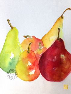 pear watercolor by Valerie Weller valerieweller.blogspot.com