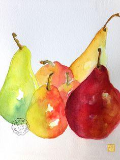 pear watercolor by Valerie Weller valerieweller.blogspot.com