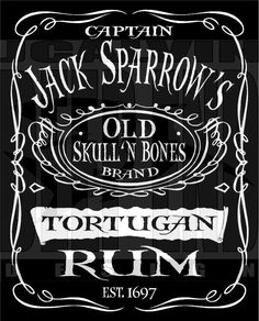 Pirates of the Caribbean Captain Jack Sparrow Tortugan Rum T-Shirt. $10.00, via Etsy.