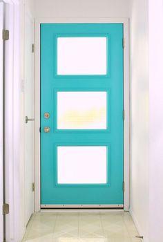 A Mid-Century Inspired Aqua Front Door