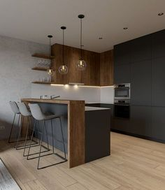 Modern Kitchen Interior Minimalist living room is very important for your home. Because in the living room every the goings-on will starts in your pretty home. findthe elegance and crisp straight Men's Minimalist Living Room. study more on our site. Living Room Cabinets, Living Room Kitchen, Home Decor Kitchen, New Kitchen, Home Kitchens, Kitchen Ideas, Kitchen Grey, Small Kitchen Bar, Living Rooms