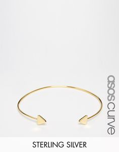 ASOS CURVE Gold Plated Sterling Silver Open Triangle Cuff Bracelet