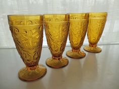 Tiara Indiana Glass 4 Amber Sandwich 10 oz Footed Tumblers #IndianaGlass