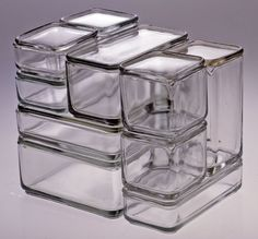 Wilhelm Wagenfeld, Kubus Cube Container, 1938 Large, deep, square, cubical storage container of colorless, pressed glass and matching lid. a: lid, b: container