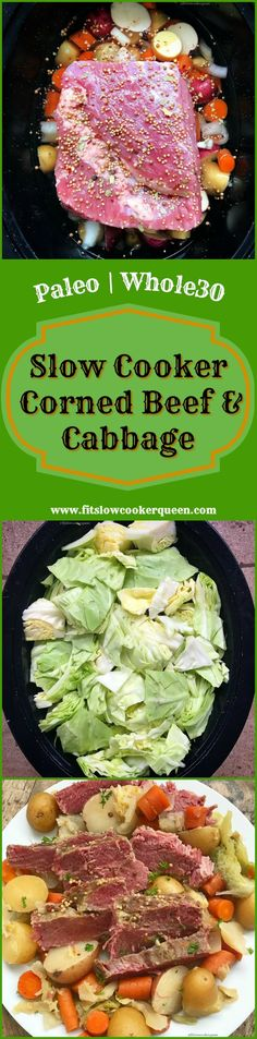 paleo whole30 crockpot slow cooker - Known as the traditional or classic Irish dish for St. Patrick's Day, this slow cooker version of corned beef and cabbage is super easy & healthy.