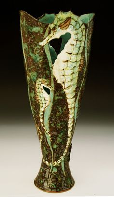 deep vessel - seahorses - Roger Cockram,his observation of the aquatic world are second to none ,fabulous glazes too!