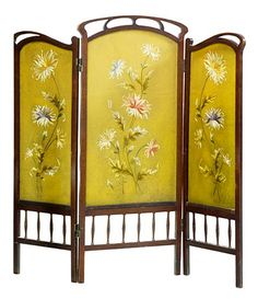 Art Nouveau Screen with embroidery Belle Epoque, Art Nouveau Interior, Art Nouveau Furniture, Furniture Design, Decorative Screens, Decorative Objects, Room Screen, Room Divider Screen, Room Dividers