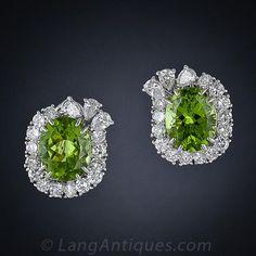 Peridot Platinum and Diamond Earrings - 20-1-2310 - Lang Antiques