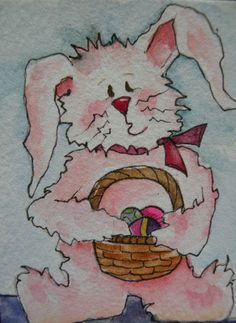 Artist Trading Card ACEO Watercolor of Baby Bunny by Marleyart, $12.99