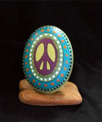 Painted Peace Sign Rocks - Hand painted rocks & furniture