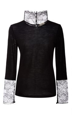 NINA RICCI Lace-Trimmed Wool-Blend Top in Black - -    This Nina Ricci top layers sheer on sheer black for a dark and delicate version of the classic turtleneck.