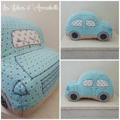 """Doudou/coussin voiture """"Dodoche"""" vintage ou rétro bleu et lin"""