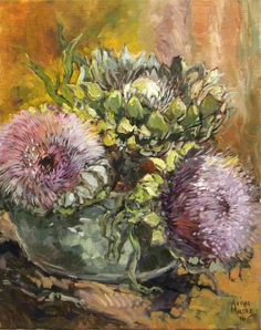 Aviva Maree. Dina se Distelblomme Protea Art, Flower Art, Art Flowers, African Art, Art Things, Masters, South Africa, Painting, Wine Cellars