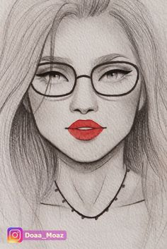 Pencil portrait drawing, quick girl sketch with glasses and bold red lipstick . Pencil portrait drawing quick girl sketch with glasses and bold red lipstick Portrait Au Crayon, Pencil Portrait Drawing, Pencil Sketch Drawing, Girl Drawing Sketches, Face Sketch, Girl Sketch, Sketch Painting, Pencil Sketches Of Faces, Pencil Drawings Of Girls