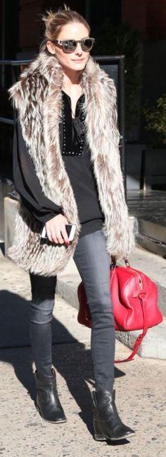 Olivia Palermo: Jeans – Black Orchid  Shoes – Isabel Marant  Sunglasses – Westward Leaning  Purse – Louis Vuitton  Key chain – Fendi