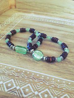 adulte Bracelet élastique en bois orange /& turquoise avec métal argenté