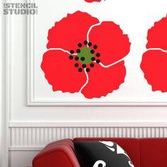 Giant Poppy Stencil, a unique reusable large wall stencil design from The Stencil Studio
