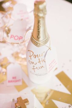 """Bridal shower favor idea - """"Pour On The Fun"""" custom champagne bottles {Courtesy of Glitter Guide} Champagne Party, Champagne Bottles, Pink Champagne, Champagne Chandon, A Little Party, Nouvel An, Party Entertainment, Lets Celebrate, New Years Eve Party"""