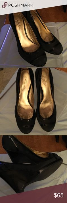 Like new Gorgeous Coach Wedge Pump Heels Really beautiful navy signature monogram wedge heels. Really stylish and versatile. A classic for any fashion-forward gal.  Great gift. Coach Shoes Platforms