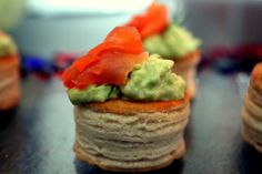 Mini Vol-au-vents filled with Guacamole and smoked Salmon