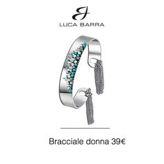 Bracciale in metallo con cristalli azzurri e bianchi Luca Barra Gioielli. #braccialedonna #lucabarra #newcollection #style #fashion #tendenzemoda