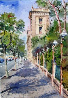 ACUARELAS JUAN ALBANDEA Urban Landscape, Landscape Art, Lighthouse Pictures, Building Drawing, Watercolor Architecture, Sidewalk Art, Valencia Spain, Fantasy Images, Amazing Drawings