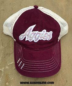 Aggies in Swarovski Crystals on Maroon Distressed Trucker Cap www.gugonline.com
