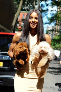 Ciara poses with her two dogs and is all smiles after taping and performing at Live with Kelly and Michael!
