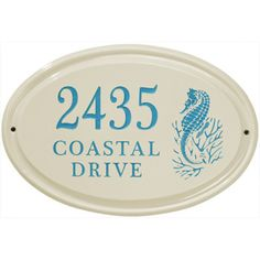 Ceramic Address Plaque Sea Horse 3 Line