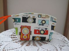 Vintage Camera Bag Small Cosmetic Clutch by Antiquebasketlady