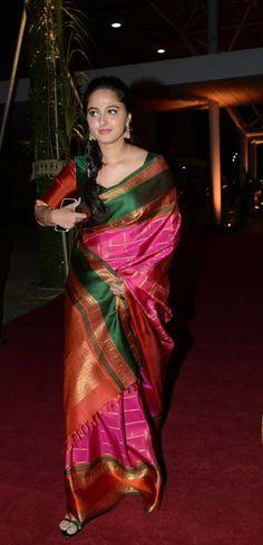 Anushka Shetty Images In Red Saree At At PVP Function - Anushka Shetty