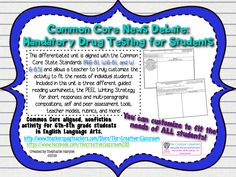 This Common Core Non-Fiction News Debate centers on the debate over mandatory drug testing for middle and high school students. This unit is entirely differentiated and allows you to customize the activities to meet the needs of your students and is aligned with the Common Core State Standards (RI.6-8.1, W.6-8.1, and W.6-8.5).
