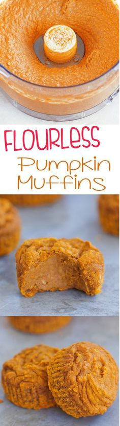 Simple vegan pumpkin muffins, less than 120 calories, from /choccoveredkt/… and so easy to make! Here's how: http://chocolatecoveredkatie.com/2015/09/21/flourless-vegan-pumpkin-muffins/