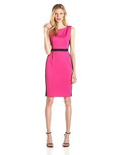 Calvin Klein Color Block Sheath Dress in Black/Hibiscus - http://www.womansindex.com/calvin-klein-color-block-sheath-dress-in-blackhibiscus/