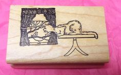 Curious Kitty cat at Window rubber stamp looking at bird wood mounted Rare mntd #StampMagic #CatsBirds