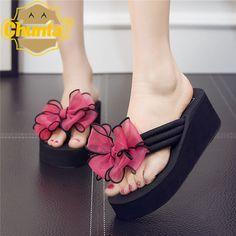e6c3c4a7d02be 2017 New Summer Women Sandals High Heel Wedge Flip-flops Thick Bottom Flip  Flops Female