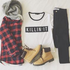 fashion / hipster / grunge- lived through the 90s, glad to see them back-so cute! want the t-shirt and the plaid :)